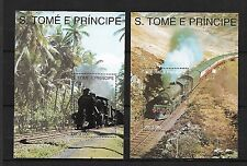 S. Tomé principe neuf** blocs 142-143 train railway  chemin de fer  ferrocaril