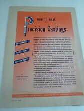 Rare Vintage 16 Page Pull-Out Leaflet HOW TO MAKE PRECISION CASTINGS 1947