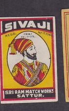 Ancienne étiquette allumettes Inde BN14776 Sivaji Homme