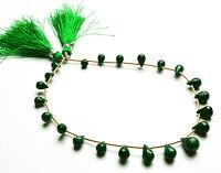 "GENUINE Super Natural Emerald Faceted  TEAR DROP SHAPE Briolettes 8 TO 12 MM 10"""