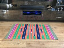Indian Dhurrie Rug Colourful Handwoven Flat Weave Handloom Cotton 155 x 90