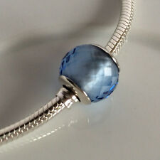 S925 Solid Sterling Silver European Blue Murano Glass Charm bead 2#