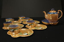 14 Piece Meito China Japan Blue & Peach Lustre Snack Tea Set Hand Painted Cranes