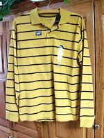 NEW MENS ST JOHNS BAY GOLD STRIPED LONG SLEEVE SUEDED JERSEY POLO SHIRT SMALL