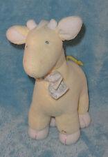 Carters Plush Yellow Giraffe Rattle Blue Eyes Animal Print Bow Stuffed Baby Toy