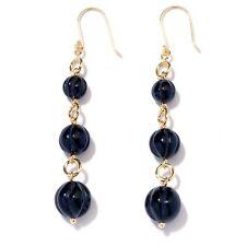 Technibond Triple Black Onyx Drop Dangle Earrings 14K Yellow Gold Clad Silver