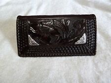 Hand Tooled Black Leather wallet Checkbook cover w/ silver accents NEW!