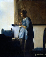 Huge Oil painting Johannes Vermeer - Portrait Woman Reading a Letter in the room
