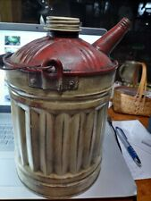 "Vintage Antique Small Metal Gas Can Round 10"" high"