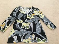LADIES womens size small scoop neck bead trim floral top yellow gray black white