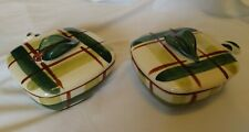 """USA Vintage Hand Decorated Blair. """" Gay Plaid"""" Individual Casseroles 2 with Lids"""