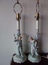 Pair Antique Bisque Figurine Lamps 18th Century Court Couple