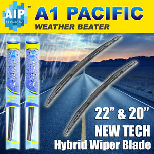 "Hybrid Windshield Wiper Blades Bracketless J-HOOK OEM QUALITY 22"" & 20"""
