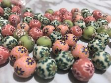 30pcs Random Mix Printed Polymer Clay Round Loose Beads Spacer Approx. 12mm Bead