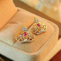 1Pair Crown Women Lady Elegant Crystal Rhinestone Ear Stud Earrings