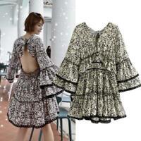 Vintage V Neck floral Print Bell hippie Boho Womens Backless sleeve mini Dress