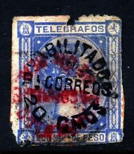 PHILIPPINES 1881 Telegraph Stamp  20c. Surcharge on 250m Blue SG 134 FLAW