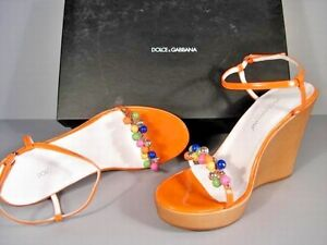 Dolce & Gabbana 39.5/9.5 Orange Patent Leather Wood Platform Wedge Sandals $612