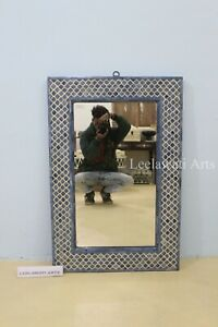 Blue Bone Inlay Mughal Design Mirror Frame