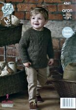 KNITTING PATTERN Childrens Long Sleeve Round Neck Cable Jumper Aran 4561