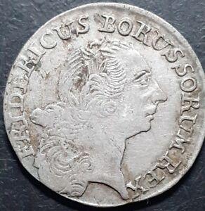 ORIGINAL GERMAN STATES - PRUSSIA 1767 E FRIEDRICH II 1/12 THALER SILVER COIN