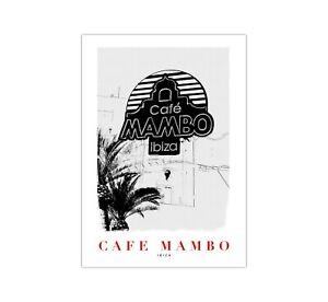 Retro Vintage Sketch Art Travel Poster - Cafe Mambo Ibiza