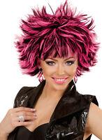 Nancy 80er Jahre Perücke schwarz-pink NEU - Karneval Fasching Perücke Haare