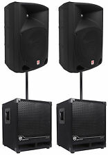 """2) Rockville RPG10 10"""" Powered 600W DJ PA Speakers+2) Subwoofers+Mounting Poles"""