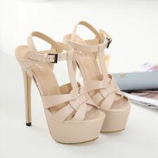 Women Buckle High Heels Leather Platform Stiletto Shoes Fashion Round Toe Sandal