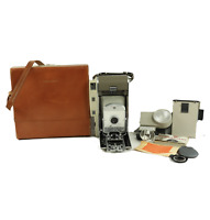 Vintage Polaroid 800 Land Camera Model w/ Light Leather Case Postcarders Manuals