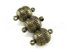 6 Magnetic Clasp Converters - Deco Drum Style - Antique Bronze Color - Necklace