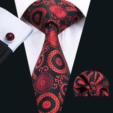 BNWT Mens Black Red Floral Paisley Silk Tie Handkerchief Hanky Cufflinks GIFTSET