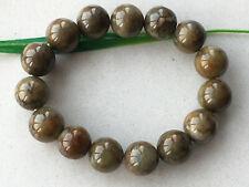 Certified Brown yellow natural Grade A 13mm Jadeite bead elasticity bracelet 153