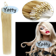 DIY Remy Human Hair Micro Ring Beads Loop Tip Straight Hair Extensions 16Inch US