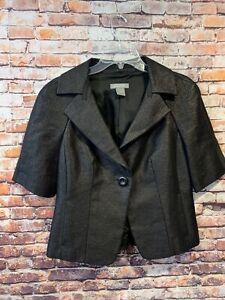 Gray Ann Taylor fine italian fabric blazer Women's Short Sleeve Size 8