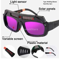 2pcs Solar Powered Auto Dimming Welding Glasses Lightweight Goggle for Argon Arc