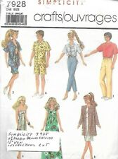 Simplicity 7928 Casual Wardrobe for Fashion Dolls Barbie Brooke Ken Vintage 1986