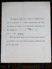 1902 Invitation to Adolph Lorenz clinical demonstration Boston medical ephemera