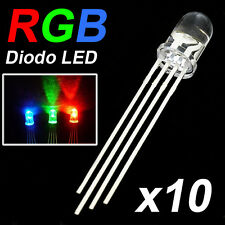 10 Diodos LED RGB 5mm 4 pins Catodo Comun★ Emitting Diodes Common Catode F5 Tri