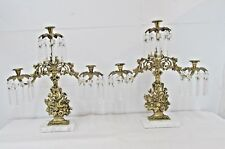 Hollywood Regency Pair  Candle Holders Crystal PRISMS Marble Heavy Cast Metal