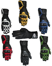 Motorcycle Motorbike Cowhide Leather Gloves Carbon Knuckle Protection S - XXL