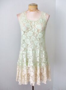 FP One Free People mint green cream dip dyed baby doll sheer lace tank dress S