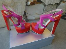Brian Atwood Daria *Authentic* SkyHigh Platform Sandal Nude Patent Sz 38
