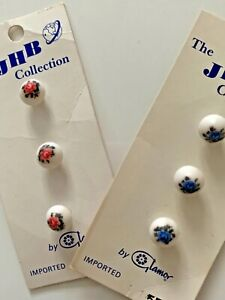 Vintage Floral Small Round Buttons. 1 cm. Pink or Blue JHB Collection.
