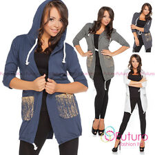Ladies Hoodie With Pockets Cape 3/4 Sleeve Jacket Parka Blazer Size 8-12 FT2149