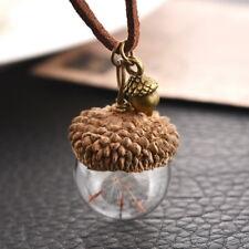 Mode Femmes Collier Acorn Shell Pissenlit Graines Verre Pendentif Bijoux 42cm