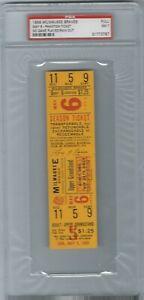 1956 Milwaukee Braves Dodgers full unused ticket PSA 7 Phantom Rain Out Aaron