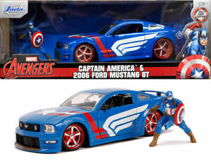 1/24 Jada Marvel Ford Mustang GT 2006+Figurine Captain America Livraison Domicil