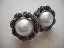 Beautiful Sterling Silver Judith Jack Marcasite Pearl Earrings  E284