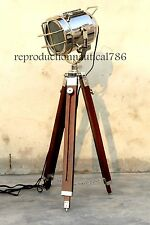 Vintage Modern Floor Lamp With Led Bulb/ Wooden tripod home office Decorative